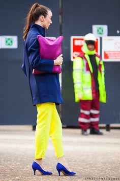 Colourblocking at its finest in shades of citrus, cobalt and fuschia #fashion