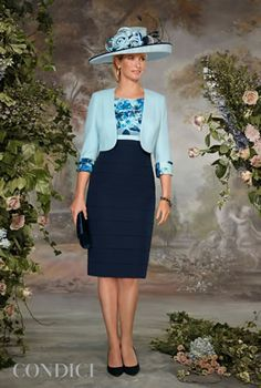 Condici dress with navy skirt and floral print bodice with matching bolero 70839