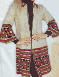 Fabulous Crochet a Little Black Crochet Dress Ideas. Georgeous Crochet a Little Black Crochet Dress Ideas. Crochet Coat, Crochet Cardigan Pattern, Crochet Jacket, Crochet Blouse, Crochet Granny, Crochet Stitches Patterns, Crochet Designs, Crochet Clothes, Mode Crochet