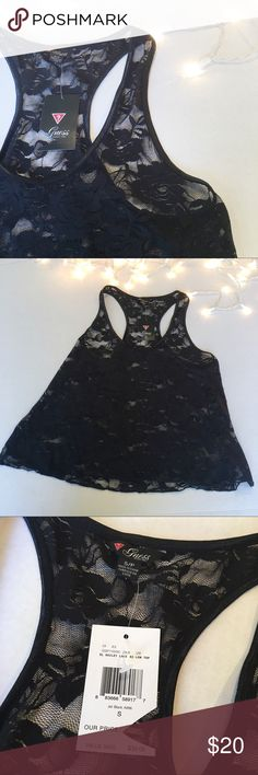 """Guess racerback black lace tank NWT Guess racerback lace tank. Laying flat underarm to underarm 16"""". Shoulder to bottom of tank 22"""" Guess Tops Tank Tops"""