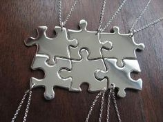 """@Stephanie Wakeling  You can have lots of best friends with this type of necklace... but then no one could fight over who was going to get the cool piece """"be fri"""" lol  6 Puzzle Piece Pendant Necklaces Argentium by GorjessJewellery"""