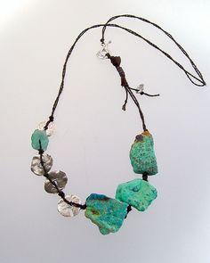 ocean goddess; fine silver, chrysocola slabs and apatite nugget on hand-plied linen cord ... kathy van kleeck