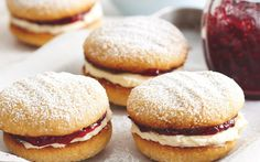 Monte carlo biscuits recipe - By recipes+, These delicious chewy coconut biscuits are a childhood favourite. Filled with cream and raspberry jam, they won't last long! Biscotti, Biscuit Recipe, Cookies Et Biscuits, Recipe For Homemade Biscuits, Easy Biscuits, Biscuit Cake, Homemade Breads, Tea Cakes, Monte Carlo Biscuits
