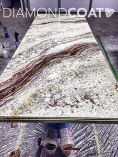 Kitchen Countertops Remodeling Custom countertop installation during the pouring process! Refinish Countertops, Resin Countertops, Custom Countertops, Outdoor Kitchen Countertops, How To Install Countertops, Kitchen Countertop Materials, Granite Kitchen, Kitchen Cabinets, Outdoor Kitchen Design