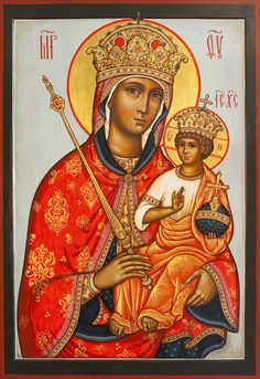 Icon of the Virgin with the Divine Child as King and Queen of the Universe (c. Luke 1 & Apocalypse 1 et seq. Mother Mary, Mother And Child, Religion, Tanjore Painting, Madonna And Child, Religious Icons, Orthodox Icons, Christen, Christian Art