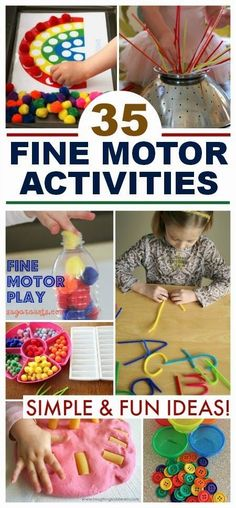 35 simple and engaging fine motor activities for kids; lots of fun ideas that can be set up in seconds! 35 simple and engaging fine motor activities for kids; lots of fun ideas that can be set up in seconds! Fine Motor Activities For Kids, Motor Skills Activities, Gross Motor Skills, Montessori Activities, Infant Activities, Fine Motor Activity, Diy Preschool Toys, Preschool Fine Motor Skills, Kids Motor