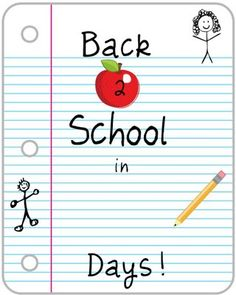 Back to School countdown. (I would be using this if I hadn't made my own last week) I put a small pack of sticky notes in the countdown section. She loves peeling off a new number every morning.