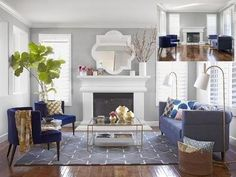 nice living room.wall color: silver chain by Benjamin moore