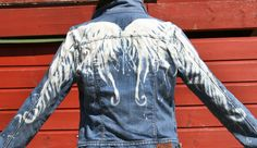 Winged woman's Ralf Lauren denim jacket. Hand bleached Angel Wings by AngelBlueArt on Etsy