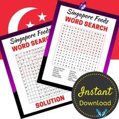 Singapore Foods Word Search Printable, Travel Activity Sheets, Word Search Puzzle For Adults and Teens, Printable, Instant Download Singapore Foods Word Search Printable, Travel Activity Sheets, Word Search Puzzle For Adults and Teens, Printable, Instant Download<br> Printable Crossword Puzzles, Singapore Food, Laksa, Food Words, Activity Sheets, Travel Activities, Chor, Biryani, Dim Sum