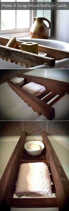 Scrap Wood Bathtub Caddy - Best DIY Shower Caddies