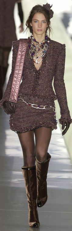 Chanel ~ Brown Tweed Mini Skirt Suit 2015. Definitely  a cool work outfit.