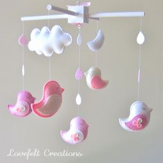 Baby crib mobile - Baby Mobile - Custom Baby Mobile -  Baby Birds Mobile - Nursery Mobile - Neutral Mobile - OR CHOOSE your colors :). $135,00, via Etsy.