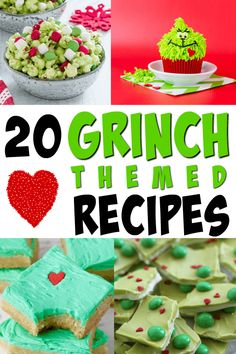 Even if your heart is two sizes too small you'll love these fun Grinch recipes. Perfect for a Grinch themed party or to jazz up any dessert table. Grinch dessert recipes, holiday drink recipes, treats, and snack ideas. Grinch Christmas Decorations, Grinch Christmas Party, Grinch Party, Christmas Deserts, Holiday Snacks, Holiday Drinks, Christmas Goodies, Christmas Treats, Holiday Recipes
