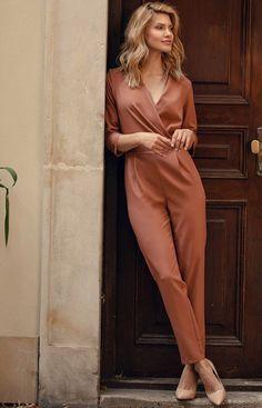 Figl Elegancki kombinezon damski brązowy M672 Jumpsuit, Outfits, Dresses, Fashion, Overalls, Vestidos, Moda, Suits, Fashion Styles