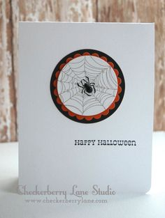 A Muse Studio - Wicked Web + Say it in Style http://www.amusestudio.com/stampshop http://www.checkerberrylane.com CAS Halloween card; clean and simple