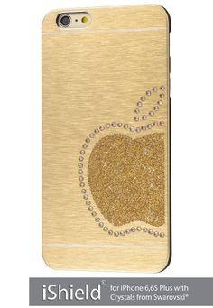 iShield® 6 Plus Light mit Crystals from Swarovski® Luxus Hülle /Schale / Schutzhülle für iPhone 6,6S Plus aus gebürstetem Aluminium mit Swarovski Elementen , Marke und Model: iShield® 6 Plus Light Hülle Apfel König Champagne Gold: Amazon.de: Elektronik