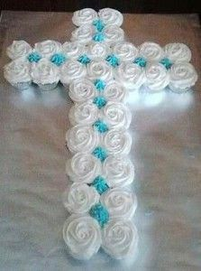 Cross Cupcakes ~ For First Communion? Baptism Cupcakes, Easter Cupcakes, First Communion Cakes, First Holy Communion, Cupcake Images, Cupcake Ideas, Dessert Ideas, Dessert Table, Girl Baptism Party