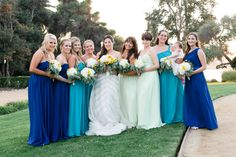My favorite girls in the world!!    l Mismatched blues wedding l Navy l Teal l Turquoise l Mint Green l Gorgeous Bridemaids l Adamson House, Malibu