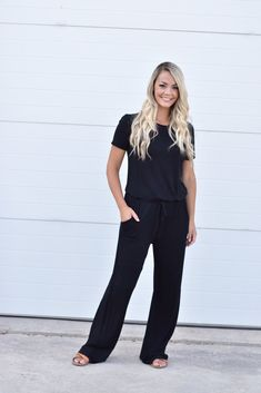 Self spag front tie Pockets Keyhole back Small Medium Large Sweater Outfits, Casual Outfits, Cute Outfits, Jumpsuit Outfit, Black Jumpsuit, Online Fashion Stores, Business Outfits, Boutique Clothing, Lounge Wear