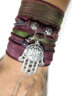 Lotus Yoga Jewelry Hamsa Silk Wrap Bracelet Hand Dyed by HVart