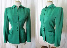 Beautiful 1940's Green Wool Gabardine Jacket by Sue by wearitagain, $125.00