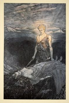 'Magical rapture pierces my heart; fixed is my gaze, burning with terror, I reel, my heart faints and fail!', illustration from 'Siegfried and the Twilight of the Gods', 1924