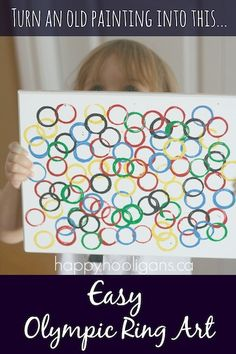 Olympic Ring Art - happy hooligans - stamping Olympic rings with tubes