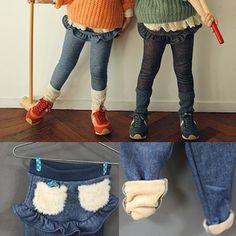 ღ ღ 2015 Korean version of the new ̿̿̿( Lace Jeans, Cheap Pants, Kids Pants, Kind Mode, Kids Fashion, Trousers, Swimsuits, Velvet, Paragraph