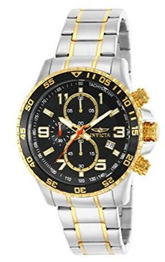 Invicta Men's 14876 Specialty Chronograph Gold Ion-Plated and Stainless Steel Watch. apanese quartz movement with analog display Two-tone stainless steel and gold ion-plated link bracelet with fold-over clasp Water resistant to 50 m ft) Stylish Watches, Cool Watches, Watches For Men, Luxury Watches, Wrist Watches, Stainless Steel Watch, Stainless Steel Bracelet, Diesel, Mens Designer Watches