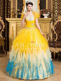 Multi Colored Ball Gowns Long Ruffled Sweetheart Corset Prom Dress - US$ 209.69 - Style P1189 - Victoria Prom