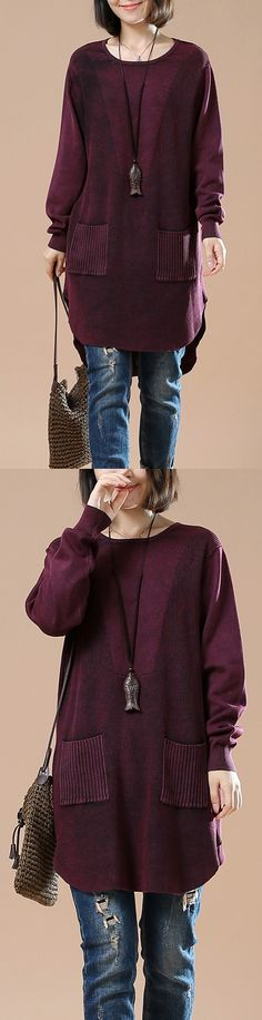 2017  winter burgundy sweaters loose knitted top
