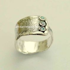 Sterling 925er Silber Ring, Opale Edelstein Ring Unisex: Band, oxidiert silber Ring, rustikal Silber Band, Ehering, breites Band - Hug me R1666