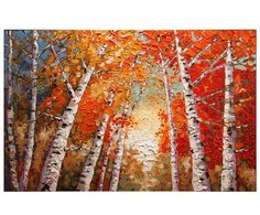 ORIGINAL Impressionist Birch Trees Painting Modern by Nizamas