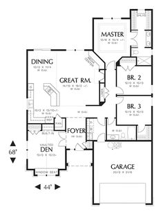 Craftsman Style House Plan - 3 Beds 2.00 Baths 1850 Sq/Ft Plan #48-404 Floor Plan - Main Floor Plan - Houseplans.com