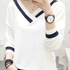 Autumn Spring Summer Polyester Women V-Neck Contrast Piping Plain Long Sleeve T-Shirts - Fashion Style Shirt Blouses, T Shirts, Long Sleeve Shirts, Long Shirts, Blouse Styles, Blouse Designs, Casual Skirt Outfits, Plain Shirts, Family Shirts