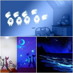 Creative paintings on the walls, which glow in the dark