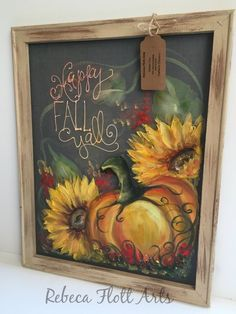 Fall painting,Pumpkin and Sunflower,wall art,porch decor,. Fall Canvas Painting, Autumn Painting, Autumn Art, Tole Painting, Painting & Drawing, Canvas Art, Pumpkin Painting, Painted Window Screens, Window Art