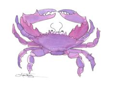 Crab Watercolor Print by lauratrevey on Etsy, $14.00
