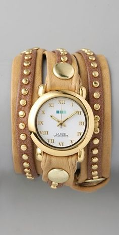 tori burch Camel Gold Bali Stud Wrap Watch