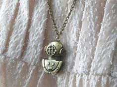1 Divers Helmet Necklace 2 Sided Halloween by PeculiarCollective