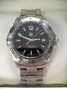 a64d6ca8e5 Tagheuer aguaracer mens black stainless steel swiss watch waf1110.ba0800