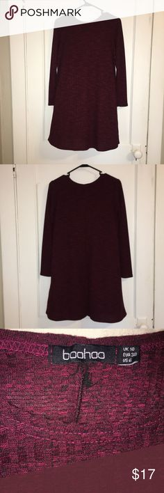Long Sleeve Dress! Wine colored long sleeve ribbed crew neck dress for sale! Bought online but was too long on me, never worn. Perfect dress for Fall weather! US size 6. Boohoo Dresses Long Sleeve