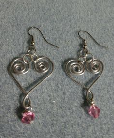 Wire Wrap Heart Crystal Earrings. $10.00 + $4.00 shipping.  If interested contact me.