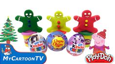 Christmas Peppa Pig Play Doh Gingerbread man new kinder suprise eggs wit...