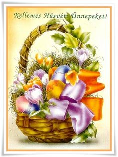 HÚSVÉT Butterfly Background, Happy Easter, Floral Wreath, Projects To Try, Clip Art, Wreaths, Holiday, Cards, Gifts