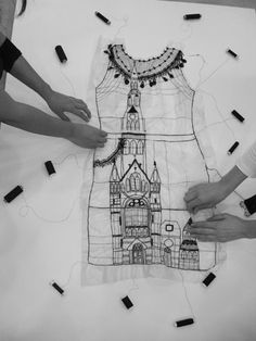 "Drawing with Stitch - dress outline with embroidered architecture - textile art // ""Story Sewing,"" Miss Blackbirdy Embroidery Art, Embroidery Stitches, Machine Embroidery, Textile Fiber Art, Textile Artists, Impression Textile, Bordados E Cia, Creation Art, Thread Art"
