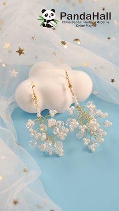 #PandaHall Idea on Pearl & Crystal #Earrings Diy Jewelry Videos, Diy Jewelry Rings, Wire Jewelry Designs, Handmade Wire Jewelry, Diy Crafts Jewelry, Jewelry Making Tutorials, Bead Jewellery, Metal Jewelry, Earrings Handmade