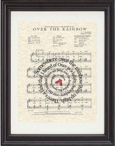 Somewhere Over The Rainbow, Art Print,Wizard Of OZ, Movie Art, Sheet Music, Spiral Song Lyrics, Classic Illustrations, Nursery, Child Room on Etsy, $15.00