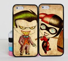 Cute Joker and Harley Quinn iphone 5 case Couples by binbinSupply